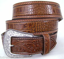 NOCONA belts men's western accessories gator tooled BROWN LEATHER BELT 38 NWT!