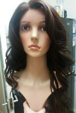 100% human hair lace wig, Swiss lace, silk based lace, hand tied, brown