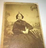 Antique American Civil War Victorian Fashion Old Lady! Connecticut CDV Photo! US