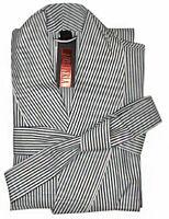 Nero Perla Striped Cotton Robe L
