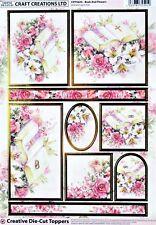 A4 DIE CUT 3D FOILED CARD TOPPER SHEET PAPER TOLE BOOK & FLOWERS WEDDING CDT562G