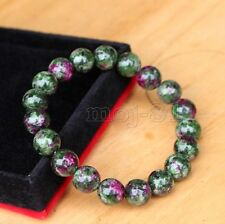 Fashion 10mm Natural Ruby in Zoisite Round Gemstone Beads Stretch Bracelet 7.5''