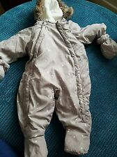 baby boy 0-3 2-4 months grey snowsuit winter coat mittens hoodie from h&m
