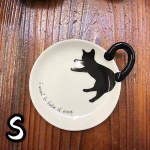 Cute Neko Plate Black Cat Ceramic Plate Small B 01725