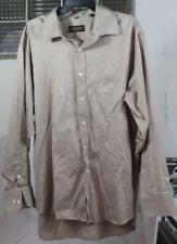 Donald Trump Signature Collection Dress Shirt Mens Brown Linen Size 18 34/35