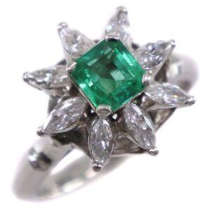 Ring PtPlatinum/Emerald/diamond #4.5(JP Size) Women