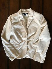 C&A Corduroy Ivory Blazer Jacket Sz M Lined Long Sleeve One Button Hand Pockets