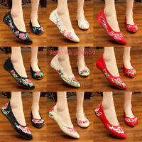 Women Chinese Folk Embroidered Floral Flat Shoes Mary Jane Handmade Shoe Slip On