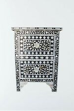 Handmade Mother of Pearl Floral Design Black Two Drawer Bedside Table Nightstand