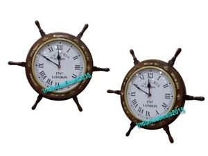Xmas Wooden Ship's Steering Wheel with Brass Porthole Clock Nautical Home Decor