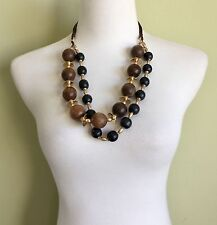 Anthropologie Brown Black Wood Necklace Ball Gold Metal Bead Disc Double Layer