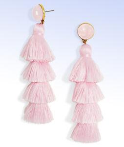 BAUBLEBAR Gold-Tone GABRIELA Pink Tassel EARRINGS w Rose Quartz Cabochon Studs