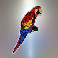 Parrot Patch — Iron On Badge Embroidered Motif — Bird Animal Applique