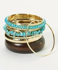 Lux Accessories Turquoise & Gold Bangle Set