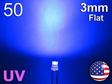 50pcs 3mm UV - Purple Flat LED - Wide Ultra Violet Water Clear Diode - DIY