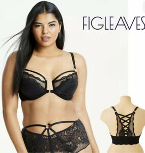 Figleaves Curve Amore Front Fastening Underwired Plunge Bra Black Size 38D