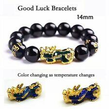 Feng Shui Black Obsidian Alloy Wealth Bracelet Pixiu Good Luck Jewelry Xmas Hot