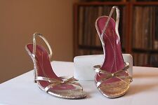Kate Spade Gold Metallic Crackle Leather Slingbacks Size 7.5 B Made In Italy