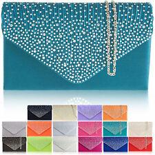 Large Women Evening Satin Bridal Diamante Ladies Clutch Bag Party Prom Envelope