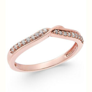 Diamond Solid 14K Rose Gold Finish Anniversary Band Ring for Women's