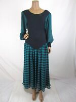 Vintage Anthony Sicari Knit Chiffon Plaid Dress Size 8 1980's Midi Long Sleeve