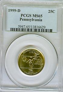 1999-D Pennsylvania State Quarter PCGS MS65   Free Shipping #6629