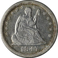 1847-O Seated Liberty Quarter VF/XF Details Nice Strike