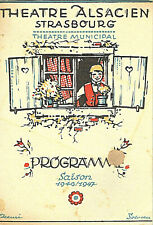Theatre Alsacien Strasbourg Programme 1946/ 1947 Lithographed Cover