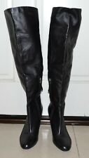 Guess Boots Over the Knee 9M Zipper Black Leather Women's