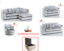 ORIGINAL DYLAN CHICAGO CRUSHED VELVET SILVER CORNER SOFA 3 2 SEATER SWIVEL CHAIR