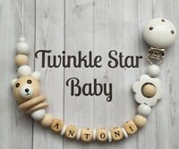Personalised Wooden Dummy Clip, White Teddy. Lovely handmade baby accessory