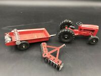Vintage Tootsie Toy Ford Tractor, Disc Harrow, Trailer with Implements