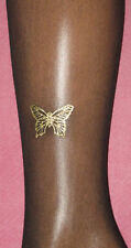 L (14-18) Gold Butterfly Sheer Black Tights. Party wear glitter