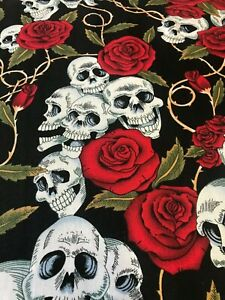 100% COTTON FABRIC ROSE AND HUBBLE SKULL ROSES FLORAL CANDY RED ROSE