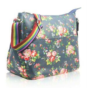Ladies Canvas Floral Print Handbag Womens Large Cross Body Shoulder Bag