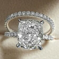 2.00ct Cushion-Cut Diamond Solitaire Bridal Set Engagement Ring 14k White Gold