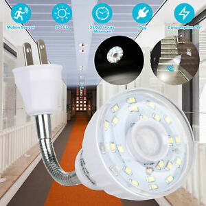 LED Motion-Activated Sensor Night Light AC Outlet Plug-In Wall Stair Lamp Indoor