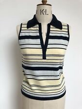 Mulberry Size Uk 12 New With Tags Striped Knitted Polo Top Blue& Pastel Cashmere