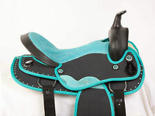 """USED 16"""" TEAL BLACK SYNTHETIC LIGHT WEIGHT WESTERN PLEASURE TRAIL HORSE SADDLE"""