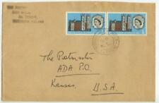 1966 UK Northern Ireland 3d Westminster Abbey Anv pair to Ada Kansas - cover