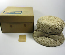 Gene Doris Hat Vintage 1950's Cloche Bucket Size 22 Union Made in May Co. Box