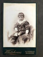 Victorian Photo: Cabinet Card: Sad Child Sailor Suit: Whitehouse: Manchester
