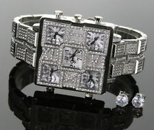 5 Times Zone Hip Hop  Iced Out 14K White GP TECHNO KING WATCH + Stud Earring