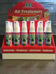 12 X TROPIFRESH CAR PUMP AIR FRESHENERS 60ml - 6 RANGE OF FLAVOURS IN BOX!!