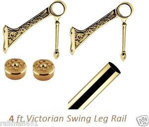 4 ft Victorian Brass Bar Foot Rail Kit & 2 Decorative Brackets + 2 Ornate Caps