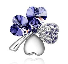 Elegant & Stylish Small 4 Leaves Clover Purple Crystal Silver Pin Brooches BR53