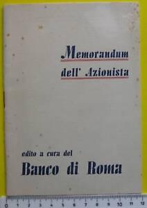 Banco di roma - memorandum dell'Azionista 1938