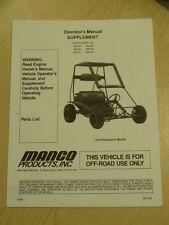 Manco Model 485-25 485-26 485-241 Go Kart Parts List Operators Manual Cart