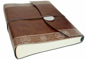 Olympia Recycled Leather Photo Album, Large Celtic Brown - Handmade in Italy