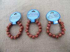 10X Handmade Wooden Round Beads Bracelet 7cm Dia.